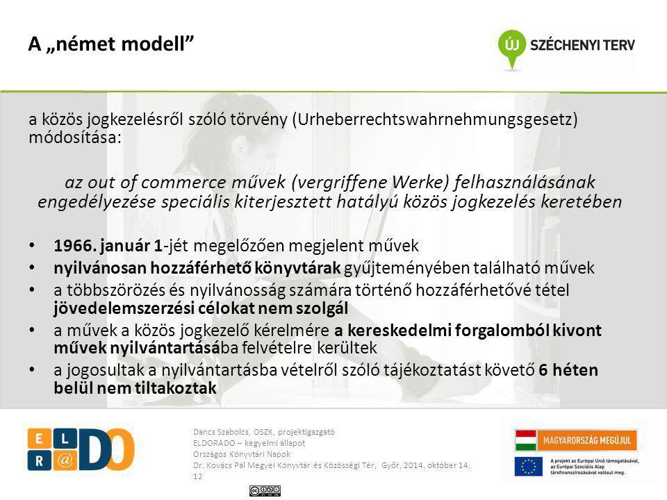 """A """"német modell a közös jogkezelésről szóló törvény (Urheberrechtswahrnehmungsgesetz) módosítása:"""