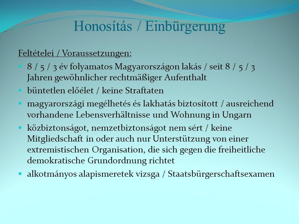 Honosítás / Einbürgerung