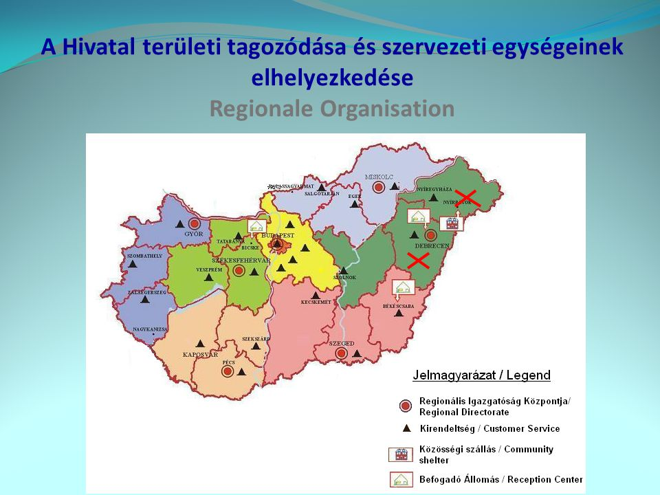 A Hivatal területi tagozódása és szervezeti egységeinek elhelyezkedése Regionale Organisation