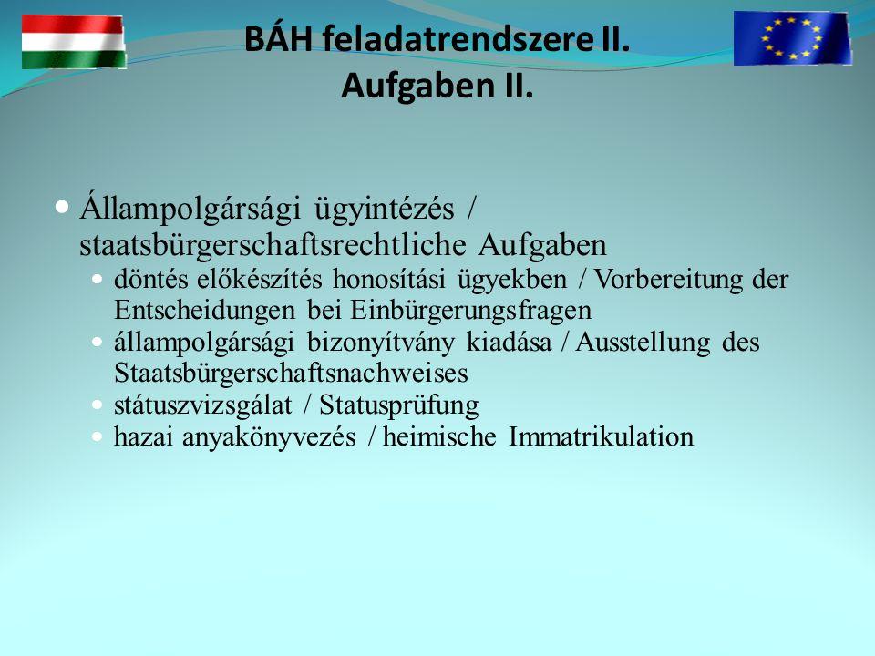 BÁH feladatrendszere II. Aufgaben II.