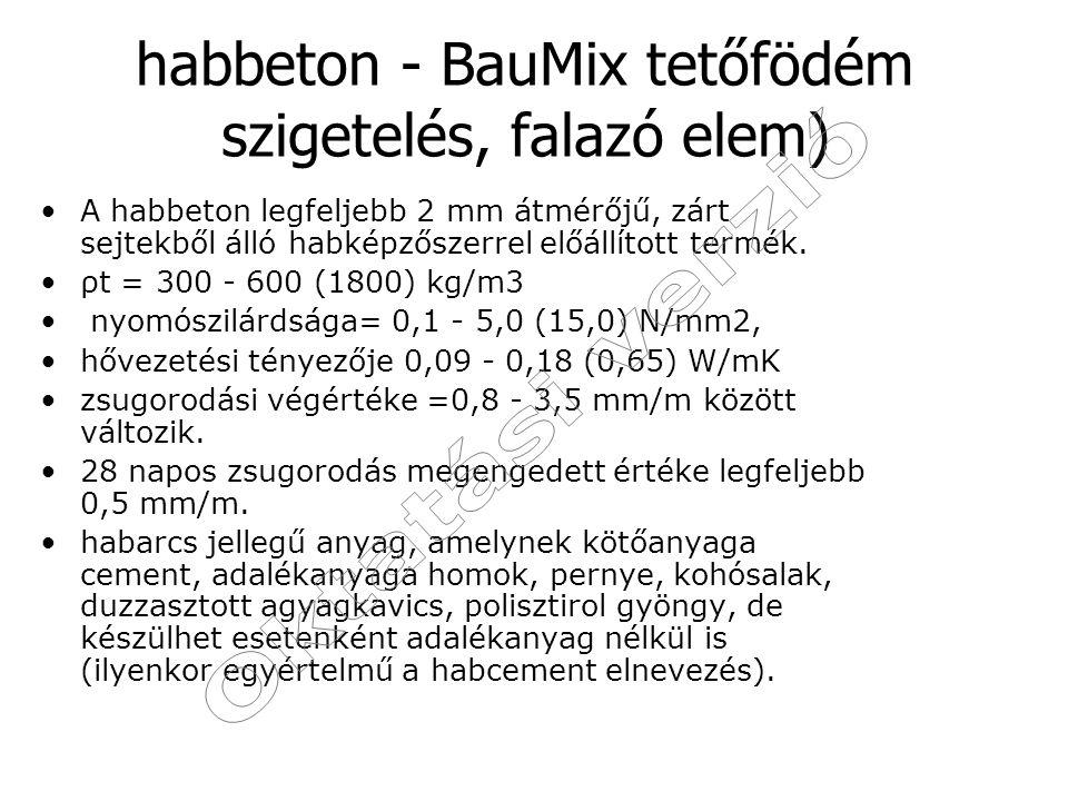 habbeton - BauMix tetőfödém szigetelés, falazó elem)