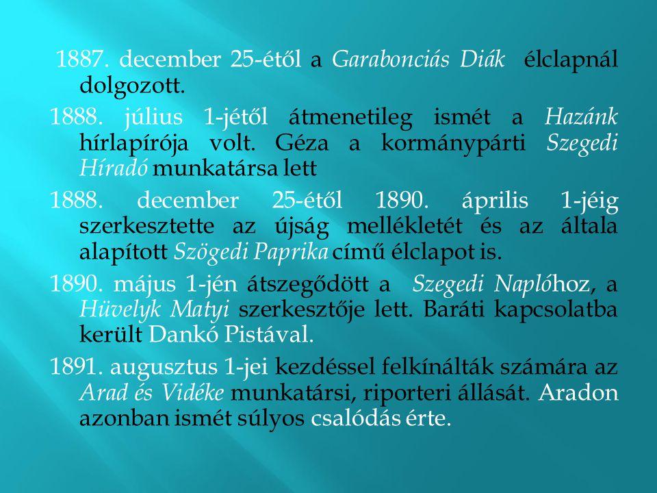 1887. december 25-étől a Garabonciás Diák élclapnál dolgozott.