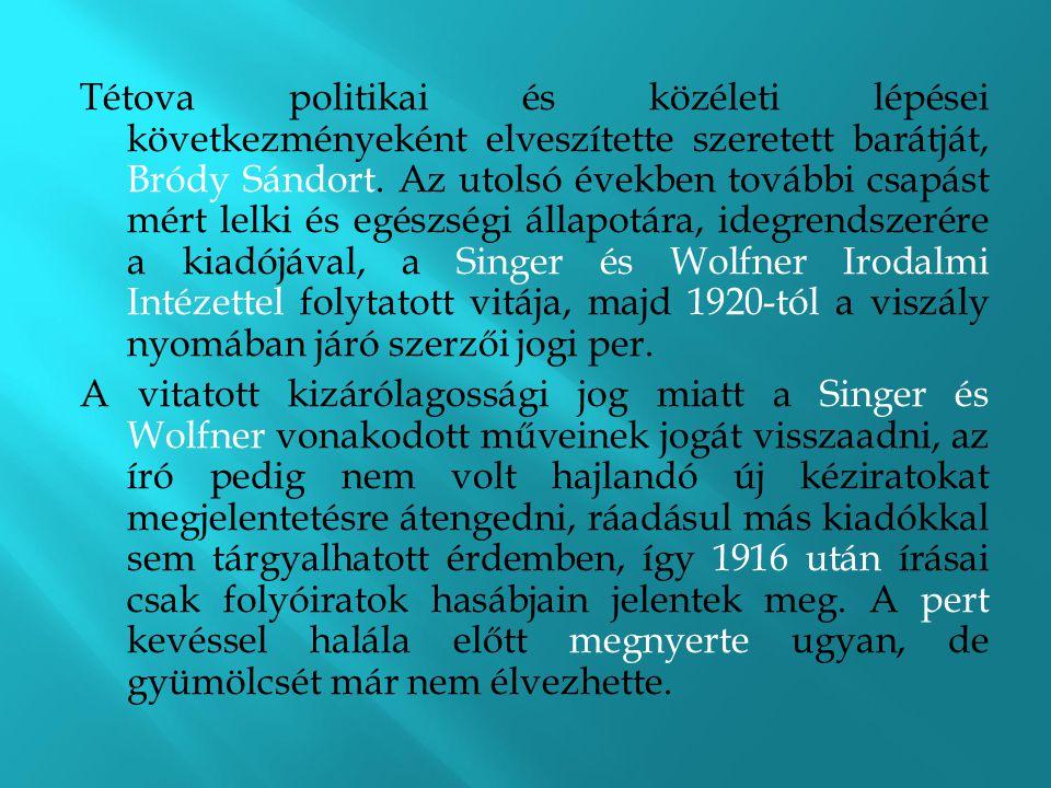 Tétova politikai és közéleti lépései következményeként elveszítette szeretett barátját, Bródy Sándort. Az utolsó években további csapást mért lelki és egészségi állapotára, idegrendszerére a kiadójával, a Singer és Wolfner Irodalmi Intézettel folytatott vitája, majd 1920-tól a viszály nyomában járó szerzői jogi per.