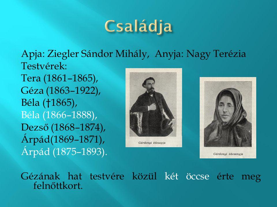 Apja: Ziegler Sándor Mihály, Anyja: Nagy Terézia