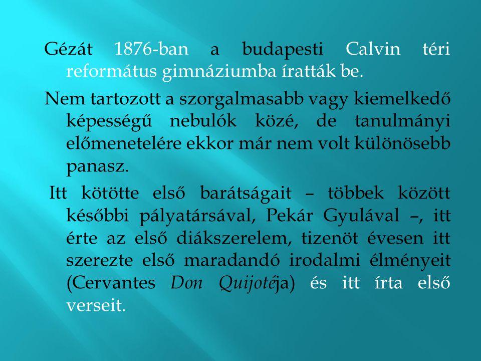 Gézát 1876-ban a budapesti Calvin téri református gimnáziumba íratták be.