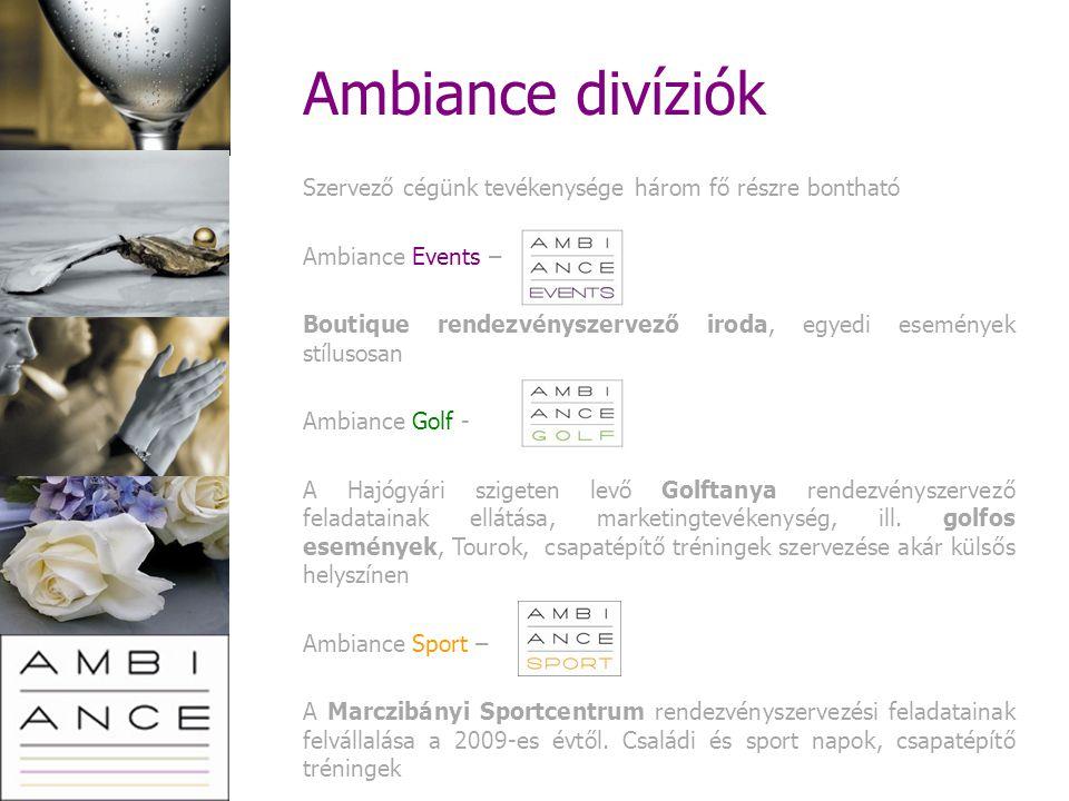 Ambiance divíziók Szervező cégünk tevékenysége három fő részre bontható. Ambiance Events –