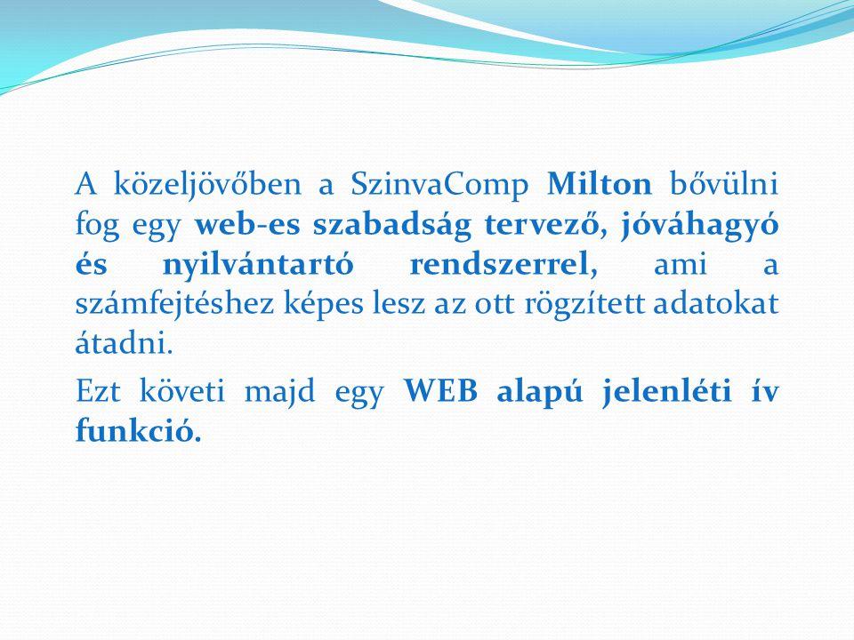 A közeljövőben a SzinvaComp Milton bővülni fog egy web-es szabadság tervező, jóváhagyó és nyilvántartó rendszerrel, ami a számfejtéshez képes lesz az ott rögzített adatokat átadni.