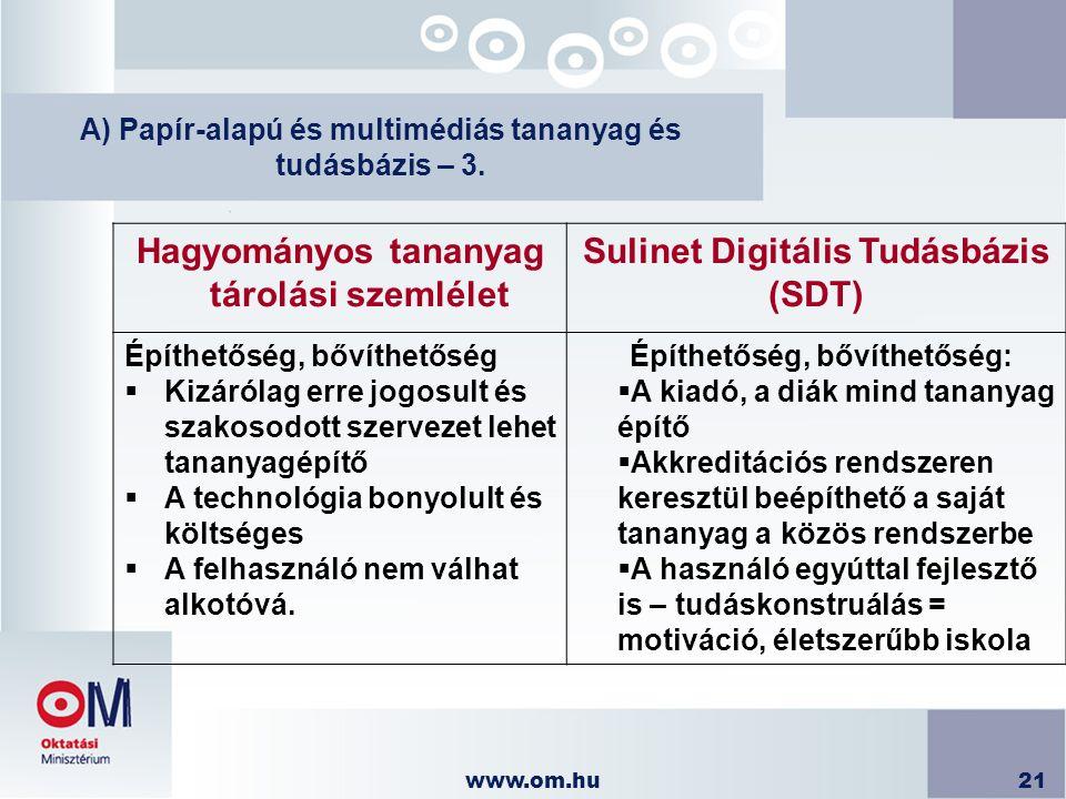 A) Papír-alapú és multimédiás tananyag és tudásbázis – 3.