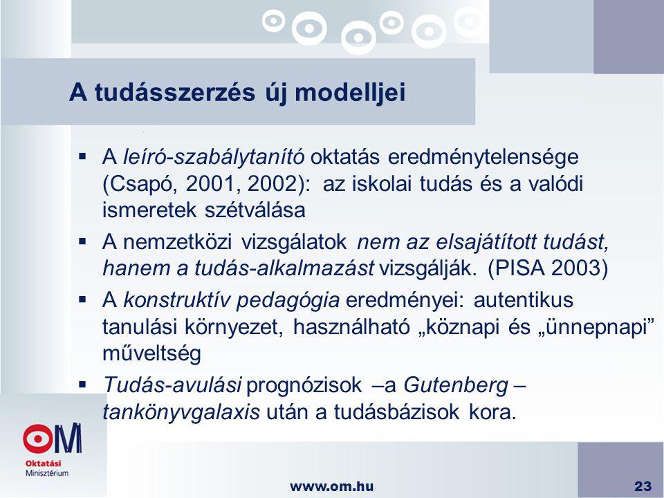 A tudásszerzés új modelljei