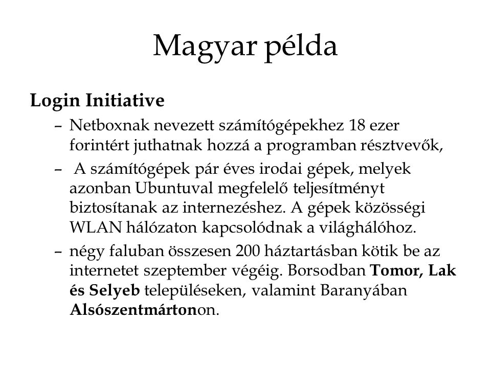 Magyar példa Login Initiative