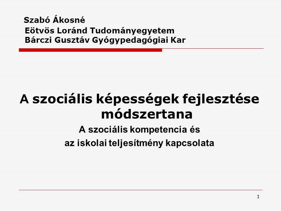 Szabó Ákosné Eötvös Loránd Tudományegyetem Bárczi Gusztáv Gyógypedagógiai Kar