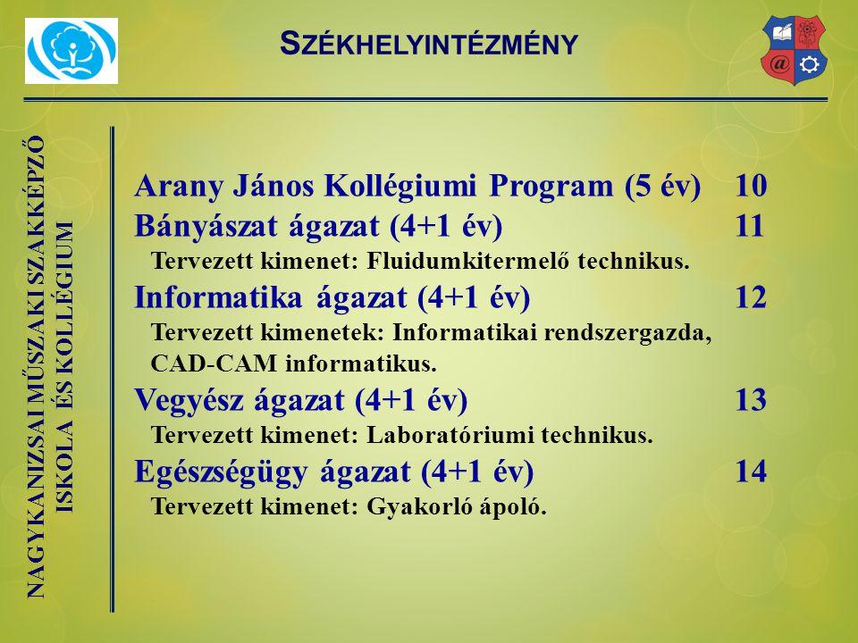Arany János Kollégiumi Program (5 év) 10 Bányászat ágazat (4+1 év) 11