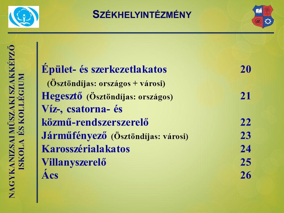 Épület- és szerkezetlakatos 20 Hegesztő (Ösztöndíjas: országos) 21