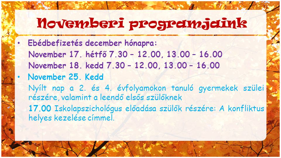 Novemberi programjaink