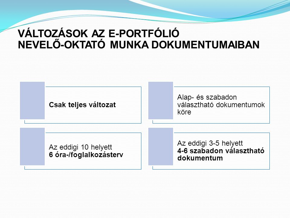 VÁLTOZÁSOK AZ E-PORTFÓLIÓ NEVELŐ-OKTATÓ MUNKA DOKUMENTUMAIBAN
