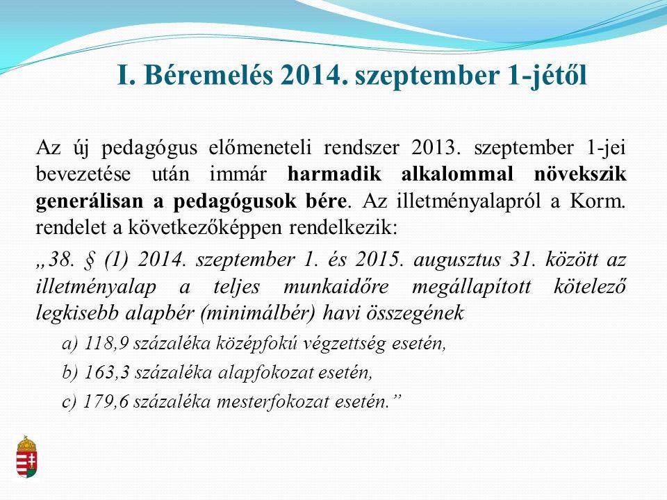I. Béremelés 2014. szeptember 1-jétől