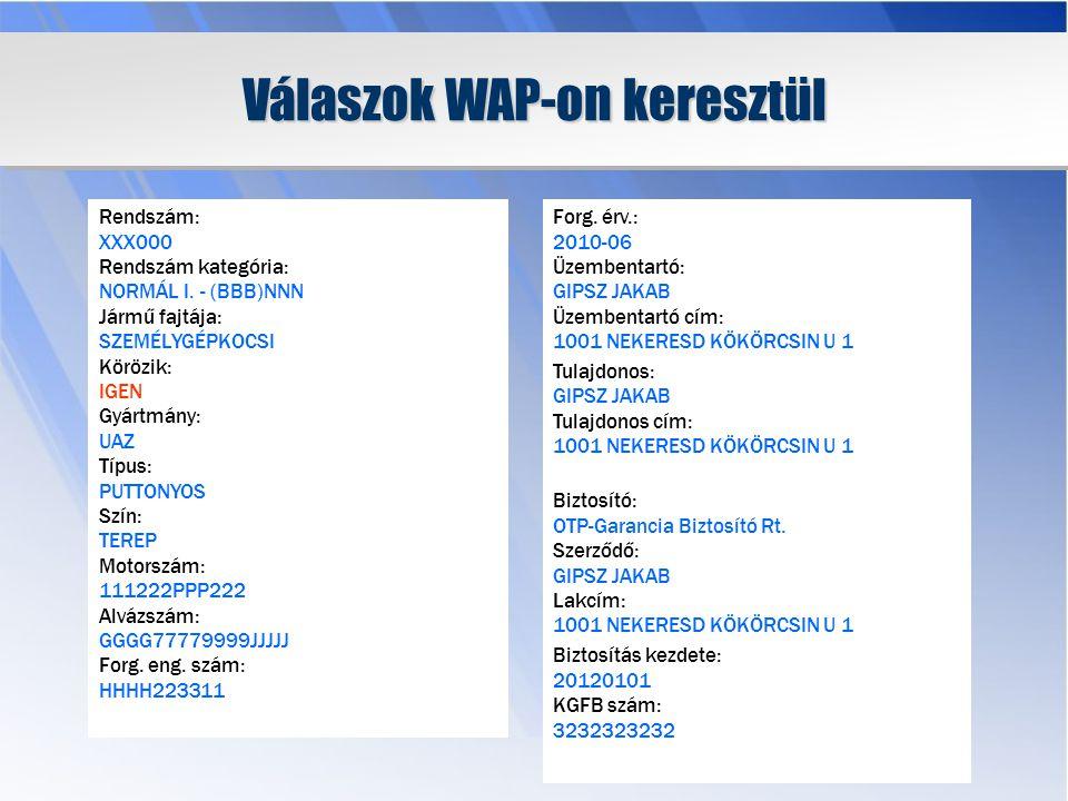 Válaszok WAP-on keresztül