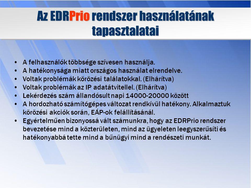 Az EDRPrio rendszer használatának tapasztalatai