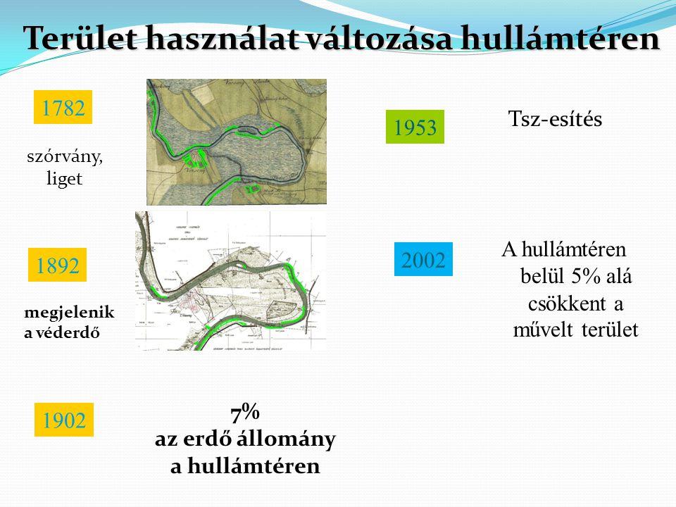 Terület használat változása hullámtéren az erdő állomány a hullámtéren
