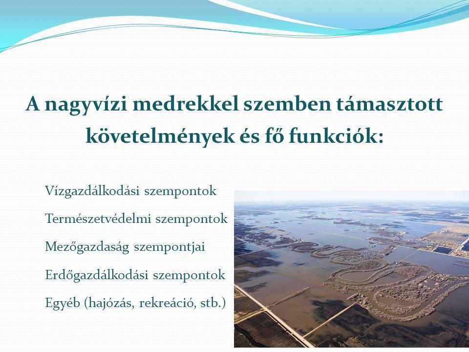 A nagyvízi medrekkel szemben támasztott követelmények és fő funkciók:
