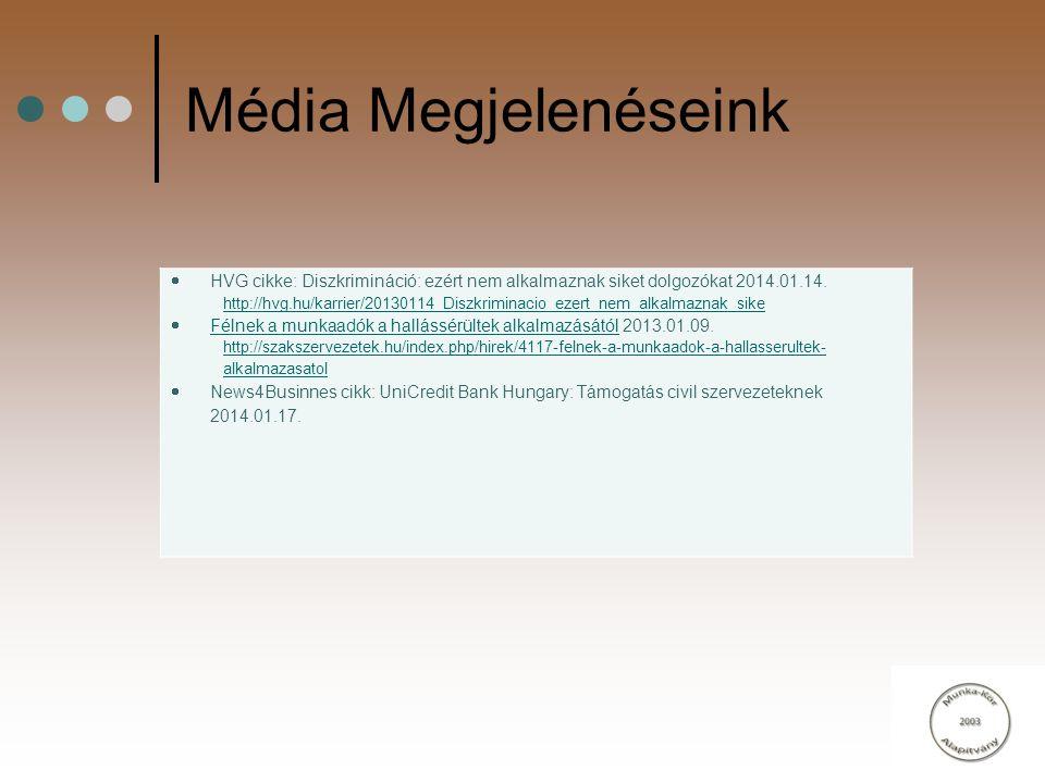 Média Megjelenéseink HVG cikke: Diszkrimináció: ezért nem alkalmaznak siket dolgozókat 2014.01.14.
