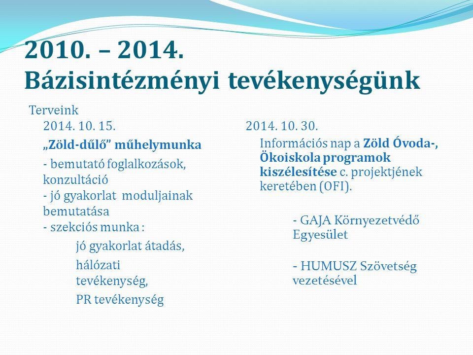 2010. – 2014. Bázisintézményi tevékenységünk