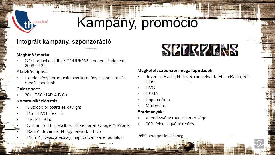Kampány, promóció Integrált kampány, szponzoráció Megbízó / márka: