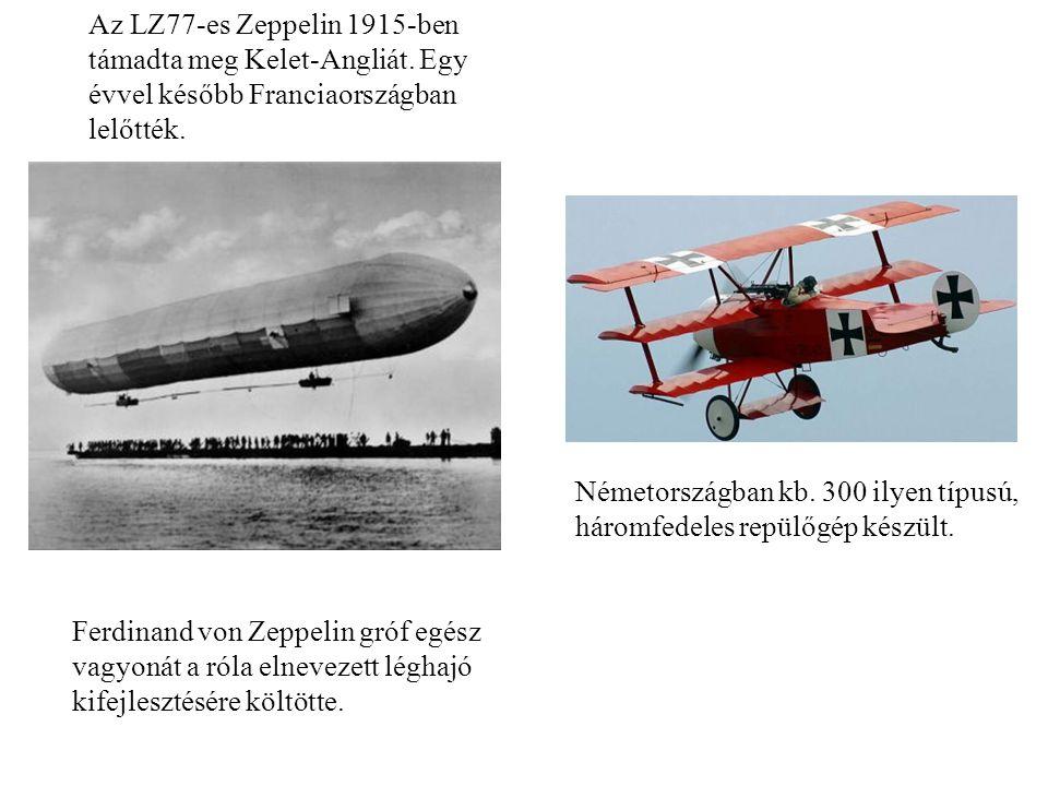 Az LZ77-es Zeppelin 1915-ben támadta meg Kelet-Angliát