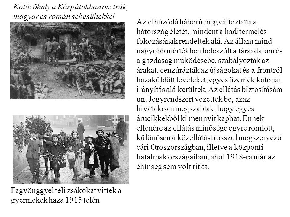 Kötözőhely a Kárpátokban osztrák, magyar és román sebesültekkel