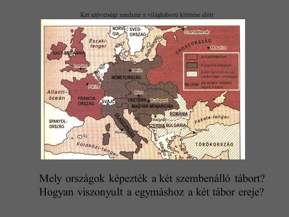 Két szövetségi rendszer a világháború kitörése előtt