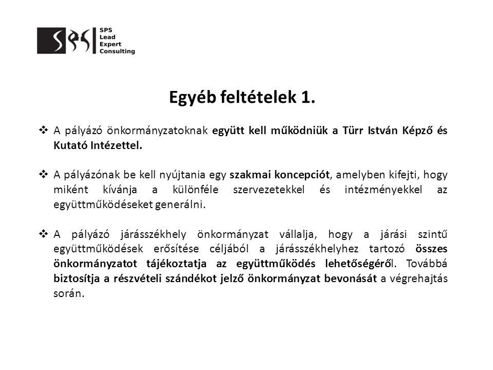Egyéb feltételek 1. A pályázó önkormányzatoknak együtt kell működniük a Türr István Képző és Kutató Intézettel.