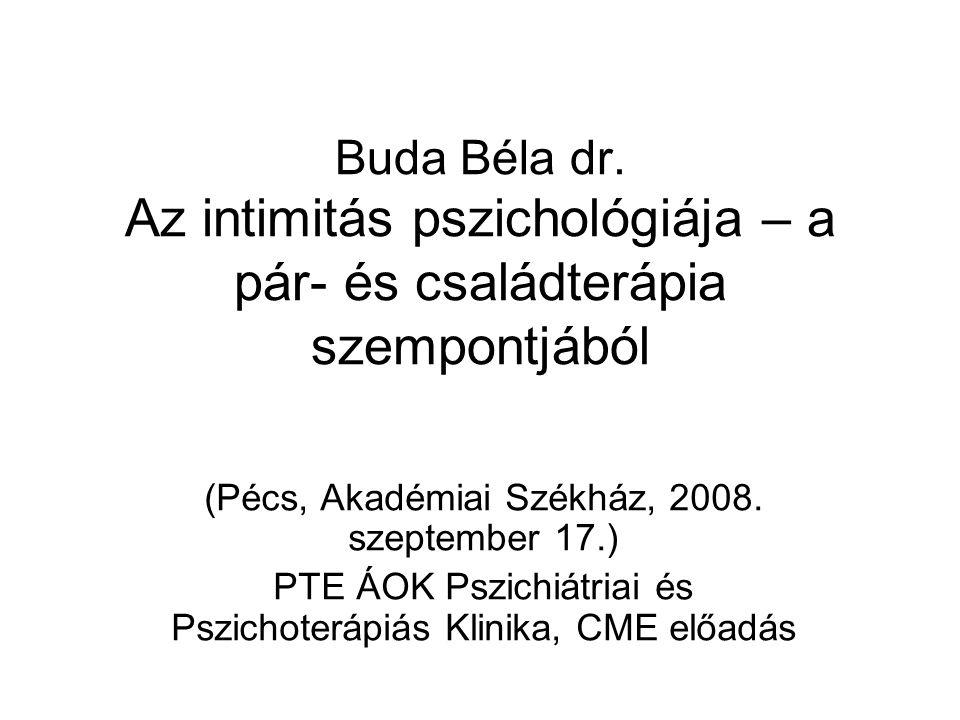 Buda Béla dr. Az intimitás pszichológiája – a pár- és családterápia szempontjából