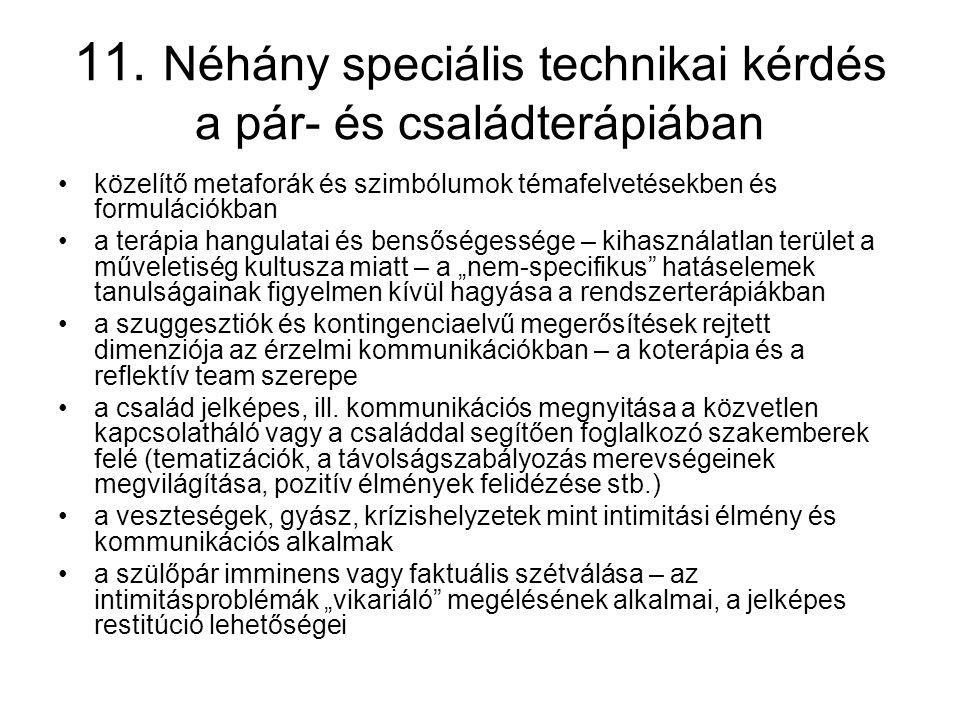11. Néhány speciális technikai kérdés a pár- és családterápiában