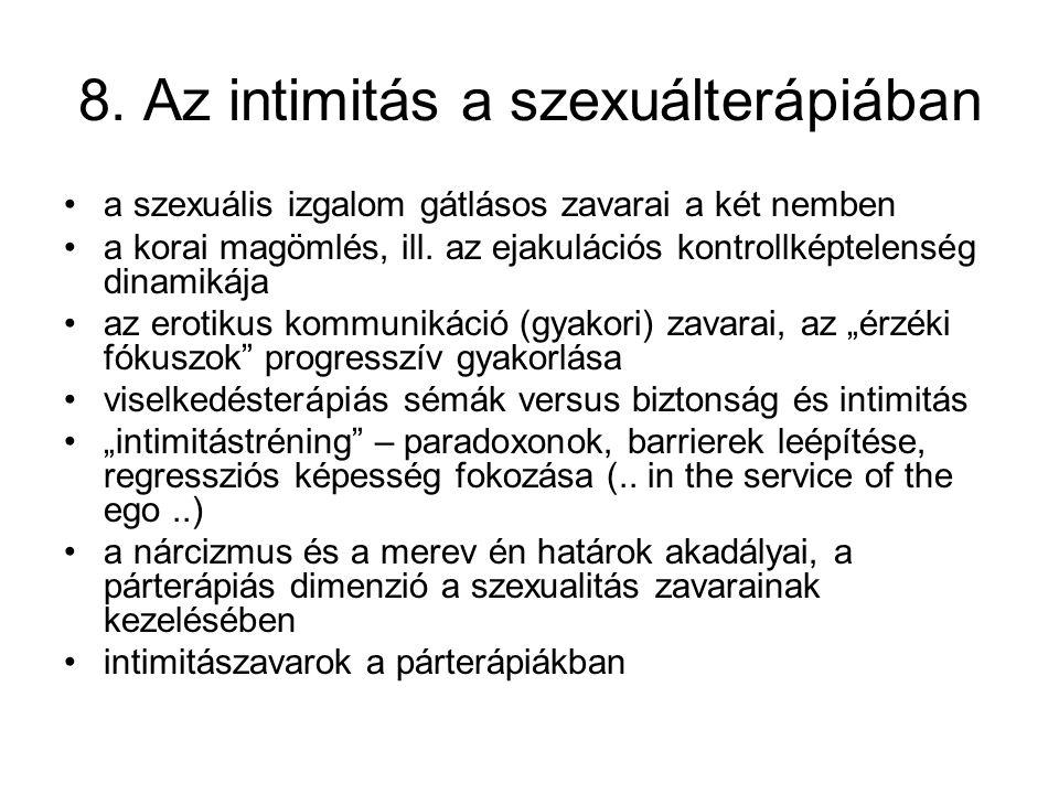 8. Az intimitás a szexuálterápiában