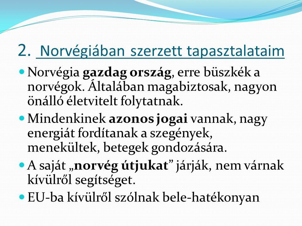 2. Norvégiában szerzett tapasztalataim