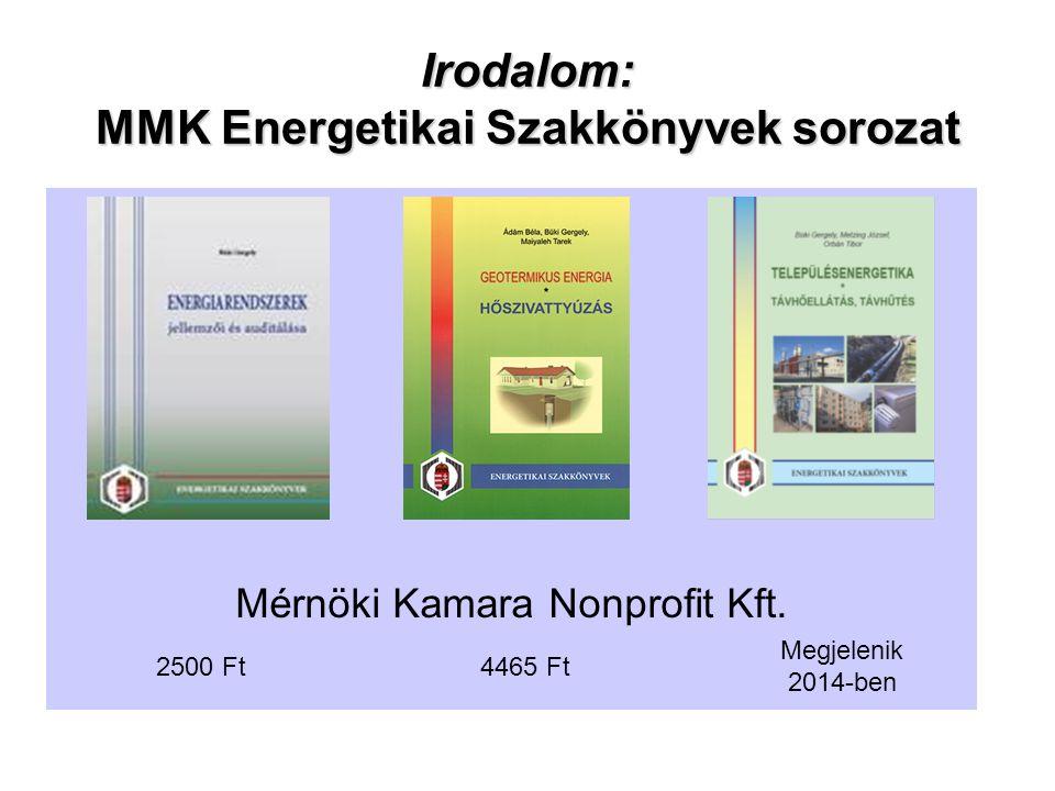 Irodalom: MMK Energetikai Szakkönyvek sorozat