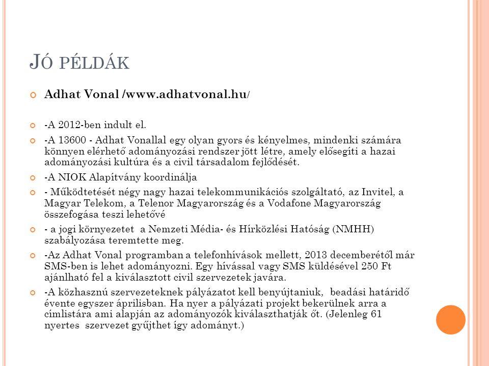 Jó példák Adhat Vonal /www.adhatvonal.hu/ -A 2012-ben indult el.