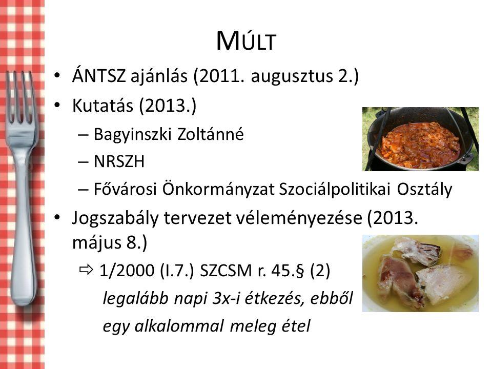 Múlt ÁNTSZ ajánlás (2011. augusztus 2.) Kutatás (2013.)