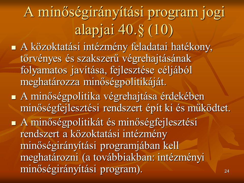 A minőségirányítási program jogi alapjai 40.§ (10)