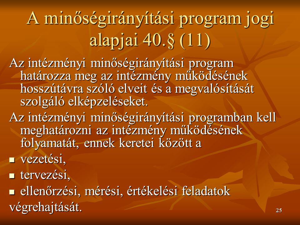 A minőségirányítási program jogi alapjai 40.§ (11)