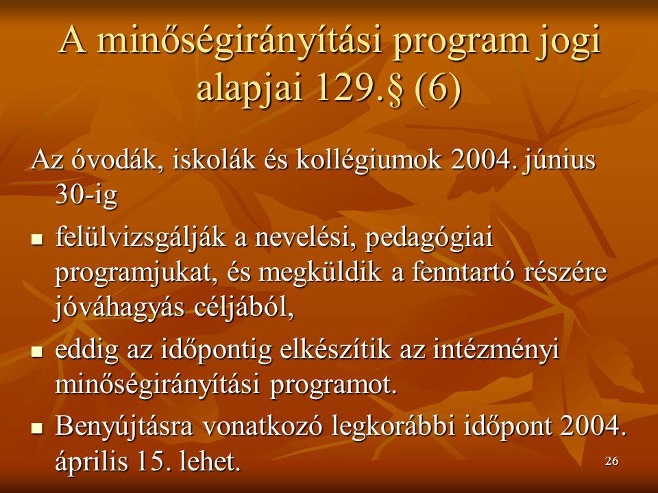 A minőségirányítási program jogi alapjai 129.§ (6)