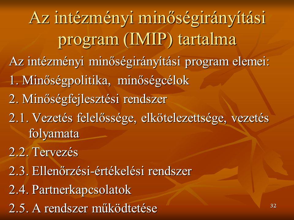 Az intézményi minőségirányítási program (IMIP) tartalma