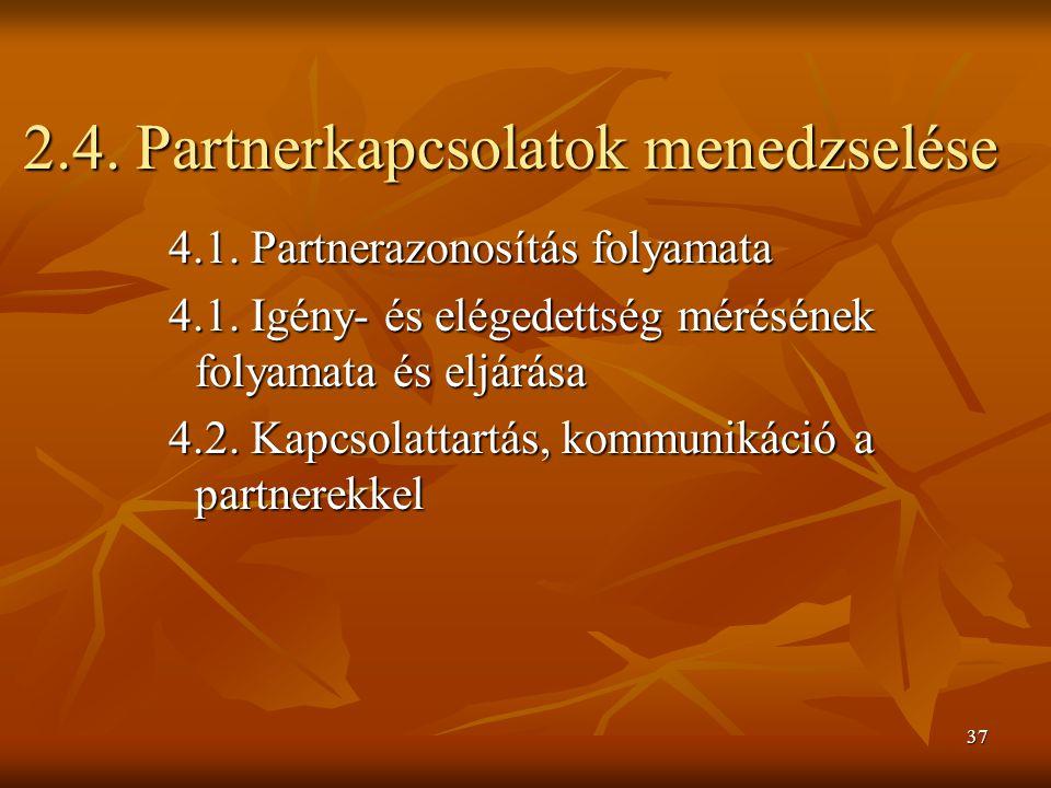 2.4. Partnerkapcsolatok menedzselése