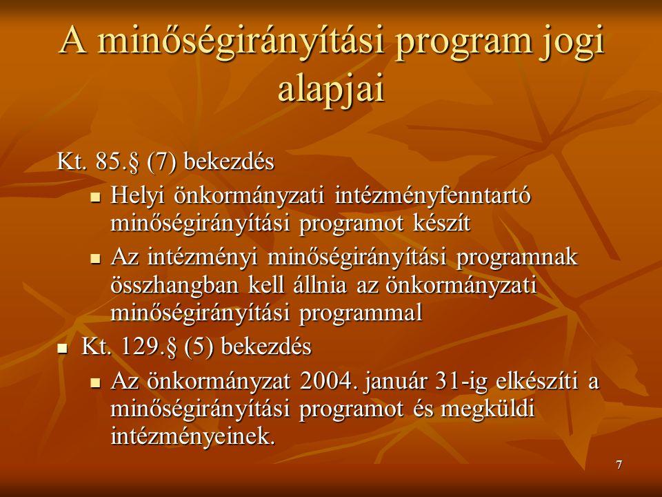A minőségirányítási program jogi alapjai