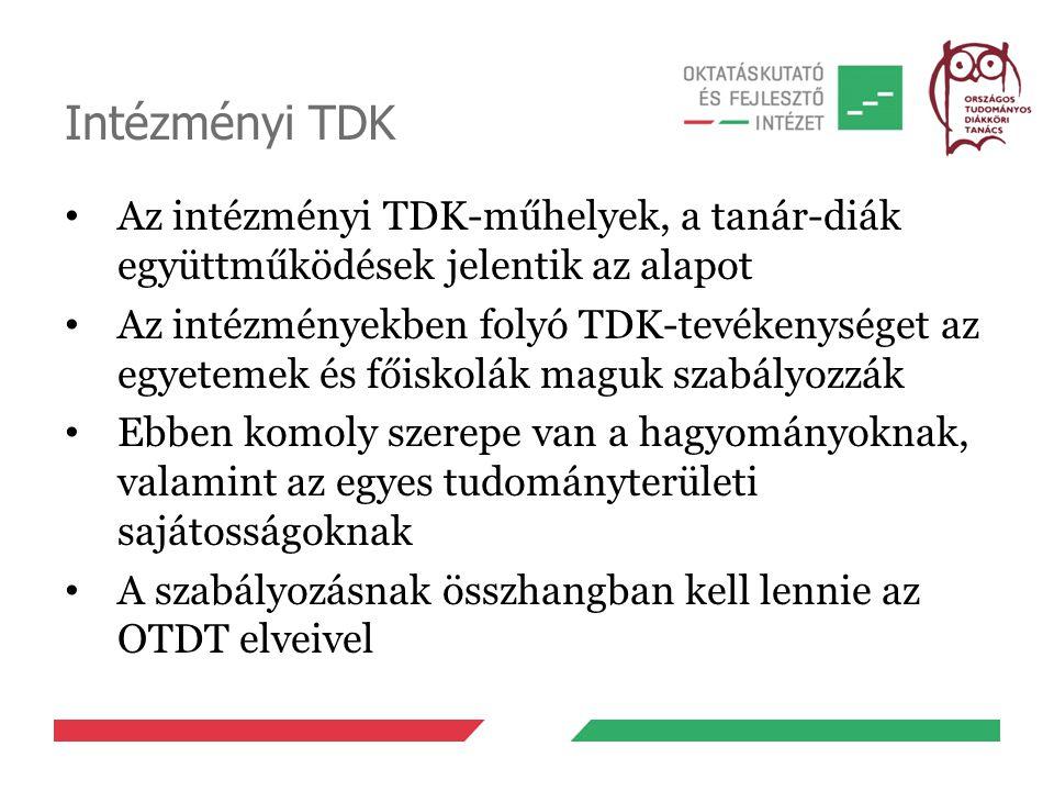 Intézményi TDK Az intézményi TDK-műhelyek, a tanár-diák együttműködések jelentik az alapot.
