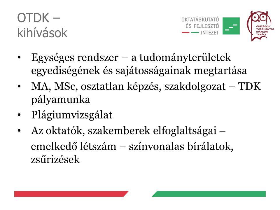 OTDK – kihívások Egységes rendszer – a tudományterületek egyediségének és sajátosságainak megtartása.