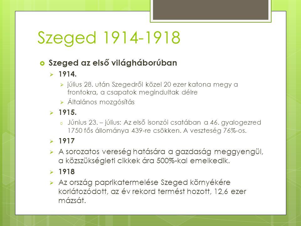Szeged 1914-1918 Szeged az első világháborúban 1914. 1915. 1917