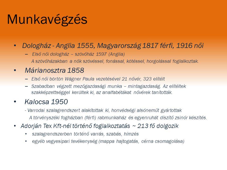 Munkavégzés Dologház - Anglia 1555, Magyarország 1817 férfi, 1916 női. Első női dologház – szövőház 1597 (Anglia)