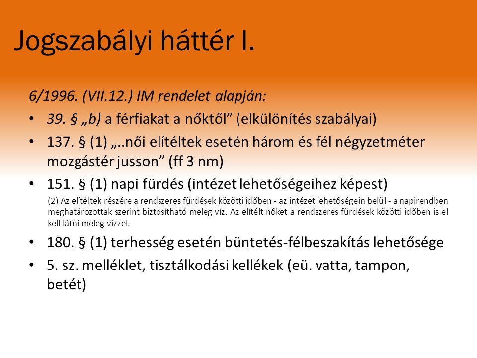 Jogszabályi háttér I. 6/1996. (VII.12.) IM rendelet alapján: