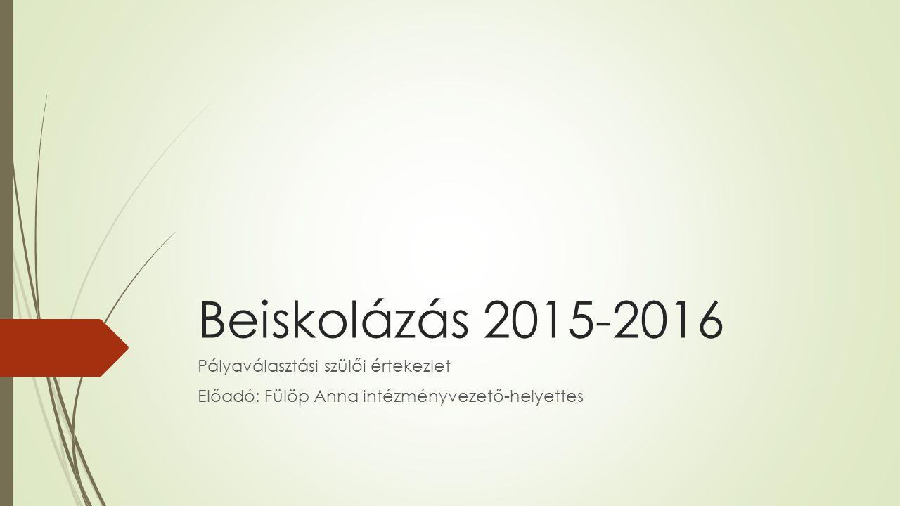 Beiskolázás 2015-2016 Pályaválasztási szülői értekezlet